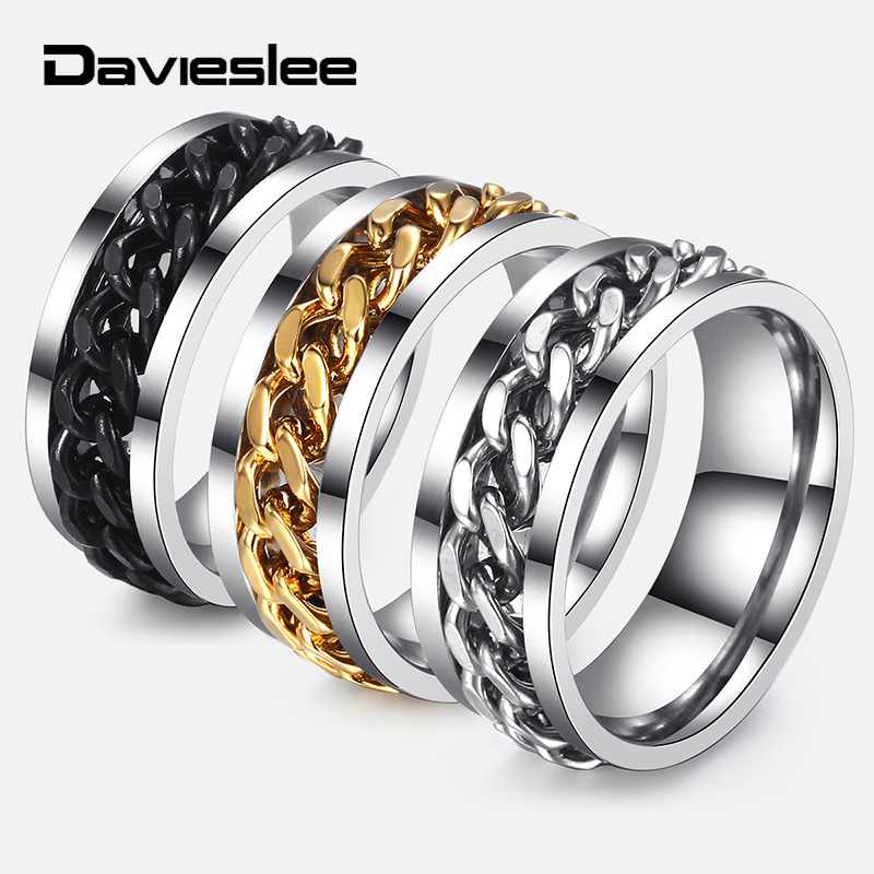 Davieslee Spinner Ring For Men Hip Hop Jewelry Punk Black Gold Silver Curb Link Stainless Steel Mens Rings Fashion Gift DKRM30 broad paracord