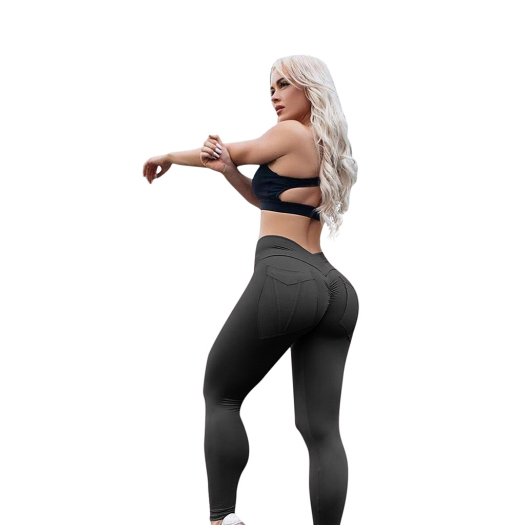 Women Sexy   Leggings   High Waist Solid Skinny Pockets   Legging   Fitness Runnning Exercise Sweatpants Panties Women Clothes 2019 Pant