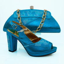 Most Popular Ladies Matching Shoes And Bags /African Shoes And Bag Set For Party In Women Pumps SKY BLUE Color  VB1-76