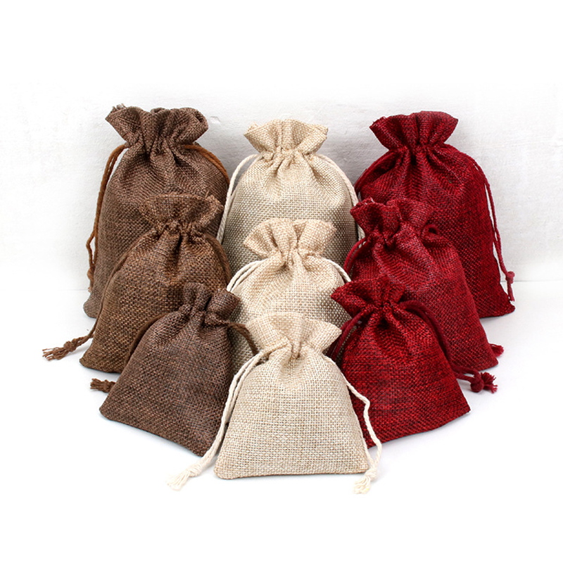 150PCS / LOT Portable Drawstring Gift Bags Pure Color Sacks Linen Packaging Bags Gift Bag Reusable Pouch 3 Size