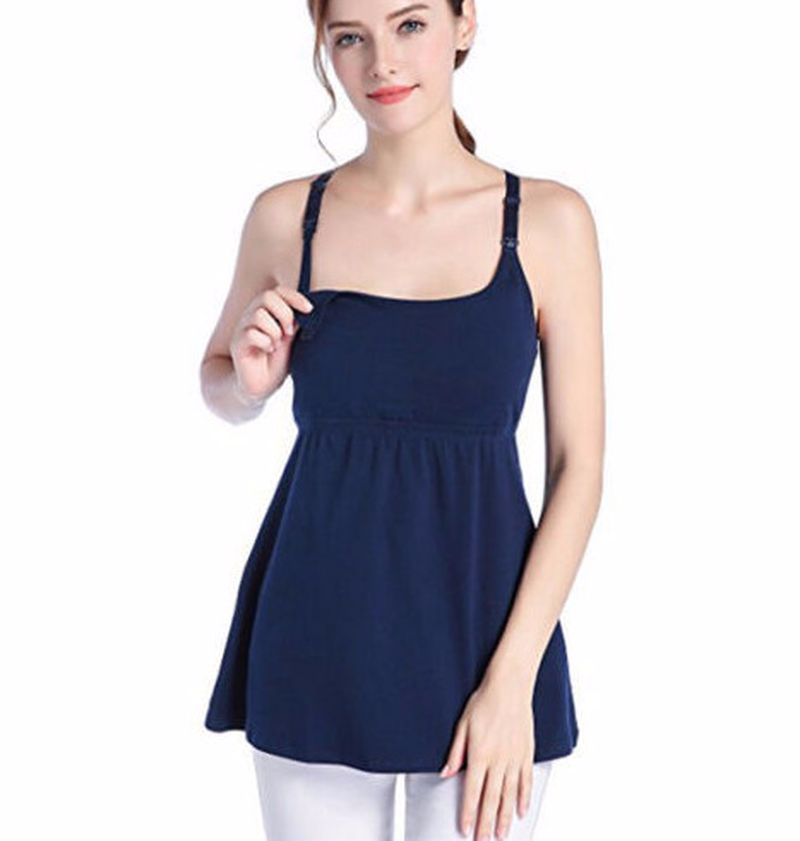 Maternity Clothes Camisole Vest O-collar Lace on The Back High Waist Pleated Tanks Europe and America Style Casual Fashion Tops