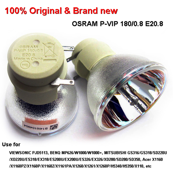 OSRAM P-VIP 180(190)/0.8 E20.8 Projector Lamp Bulb 100% Original & Brand New Used for BENQ W1000/W1000+,VIEWSONIC,ACE Projetor