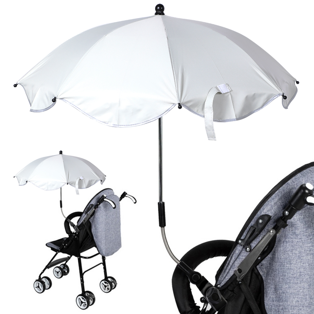 Baby Pram Umbrella Detachable Stroller Umbrella Adjustable Baby Pram Pushchair Cover Uv Rays Sun Shade Parasol Stroller Baby Umbrella With Clamp