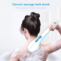 5 in1 Electric Shower Brush Handheld Spin SPA Massage Cleaning Bath Brush Water Resistant Long Handle Scrub Health Care Tool