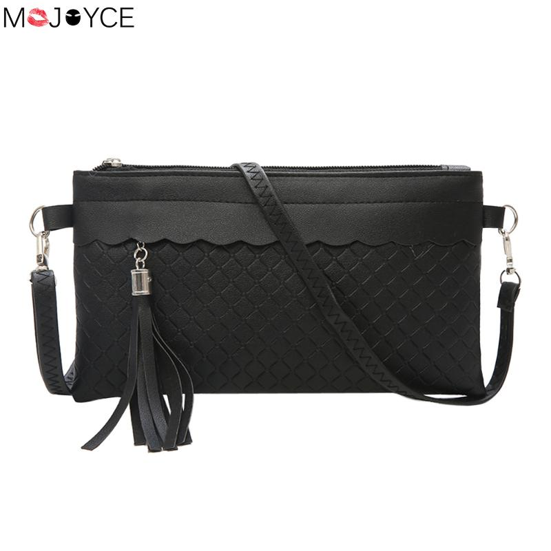 New Brand PU Leather Women Messenger Bags Tassel Solid Weave Crossbody Bag Female Fashion Shoulder Bags Clutch Small Handbags