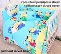 Descuento! 6 / 7 unids cuna juego de cama bebé cama sábanas Pure cotton cortina cuna parachoques, 120 * 60 / 120 * 70 cm