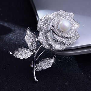White Rhinestone Rose with Pearl Wedding Brooch Crystal Broach for Bridal Bouquet Sash Flower Pin Engagement Accessory Jewelry(China)