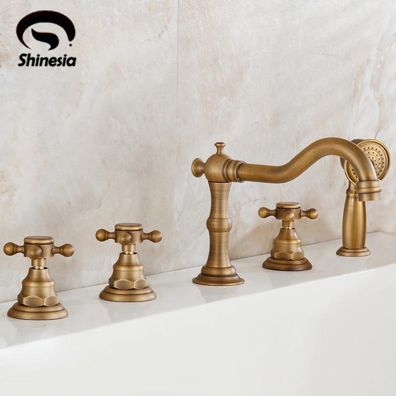 Antique Brass 5pcs Bathtub Mixer Faucet Three Handles With Telephone Shape Handheld Shower