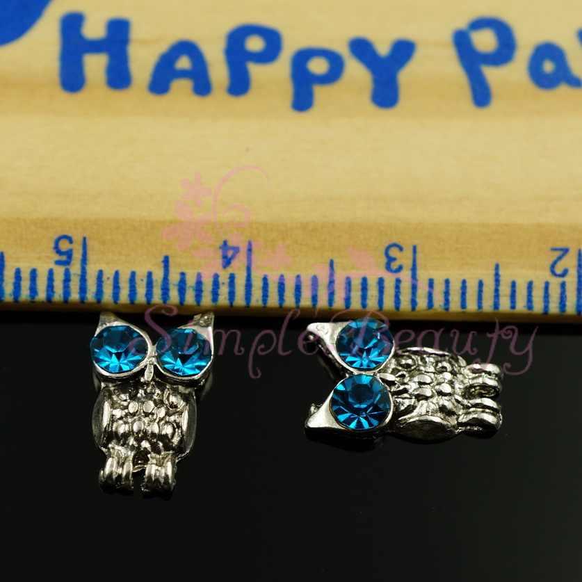 100 pz/lotto Vintage Argento Grigio Blu Occhi di Notte Del Gufo Della Lega Pendenti e Ciondoli 3D Unghie artistiche Artigianato Monili della Cassa Del Telefono FAI DA TE Decorazioni di Design