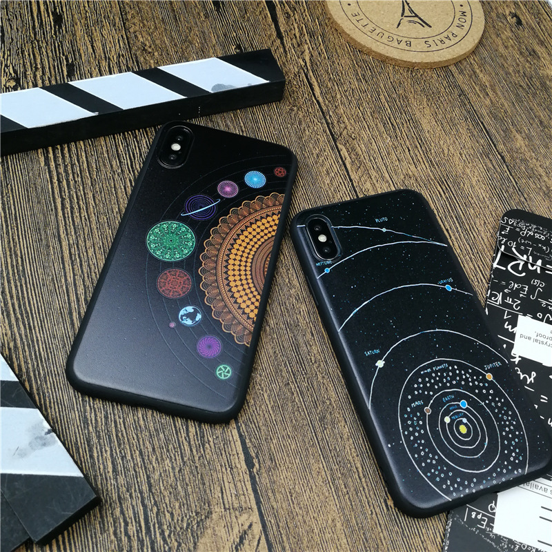 Starry sky universe explore case for iphone X 10 8 7 6 6s plus 5 5s se luxury soft silicone phone cover for iphone 7 coque funda in Fitted Cases from Cellphones Telecommunications