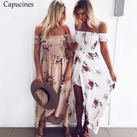 Boho Style Floral Print Sexy Off Shoulder Beach Dress 2018 Summer Women Chiffon Maxi Long Dress