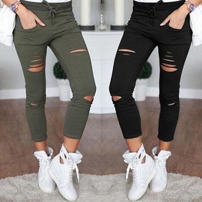 Новинка 2016 обтягивающие джинсы Для женщин джинсовые штаны отверстия уничтожено колена карандаш Брюки для девочек повседневные штаны черный, белый цвет стрейч Рваные джинсы