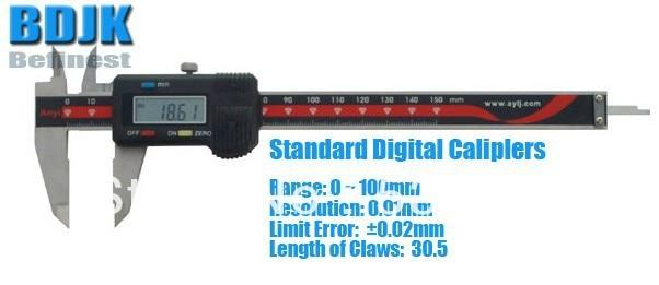 0~100mm Standard Digital Vernier Caliper / Measuring Tool / Instrument with 0.02mm Limit Error 0 300mm high precision digital vernier caliper measuring tool instrument with 0 025mm limit error