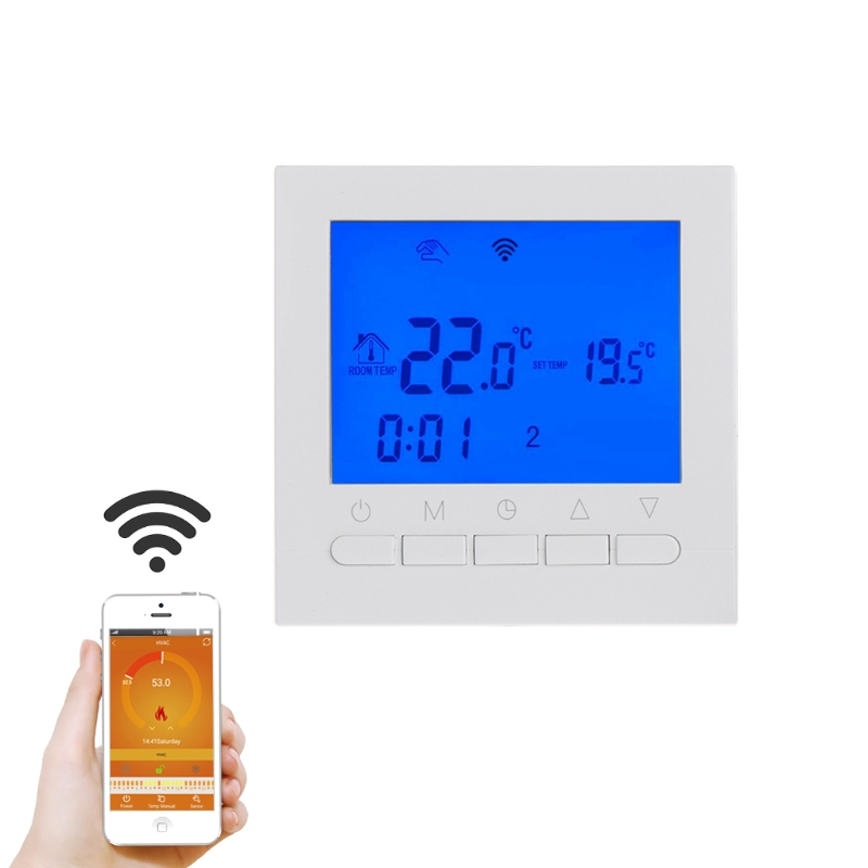 OOTDTY WIFI LCD Electric Heating Thermostat Room Temperature Controller Programmable valve radiator linkage controller weekly programmable room thermostat wifi app for gas boiler underfloor heating