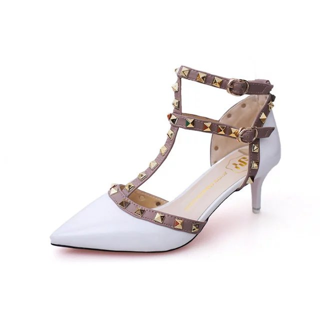 9c85e411a24a High Quality Brand Designer Rivet Shoes Patent Leather Studded Slingback  Heels Sandals Sexy Women Mid Heels Sandals Pumps-in Women s Sandals from Shoes  on ...
