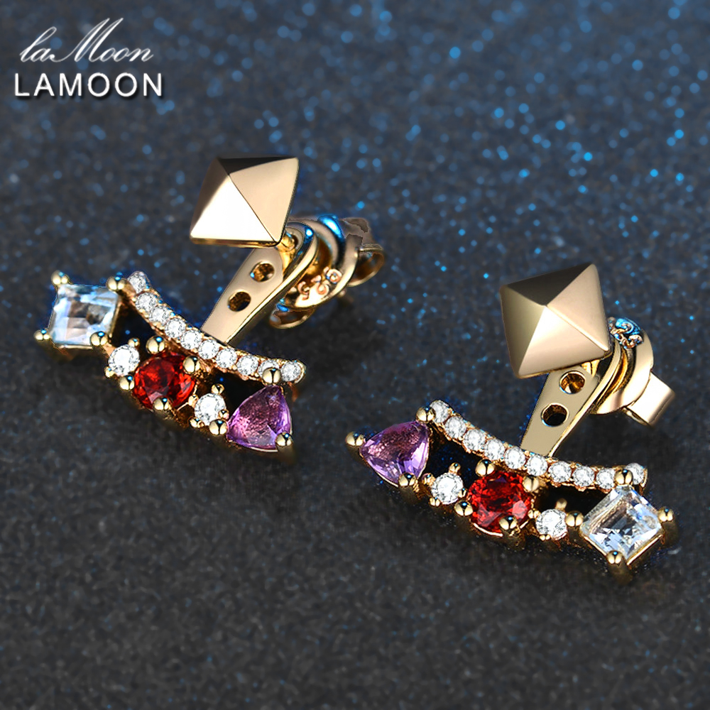 LAMOON-Piramida 0.7ct 3mm Təbii Ametist Garnet Topaz 925 Sterling - Gözəl zərgərlik - Fotoqrafiya 4