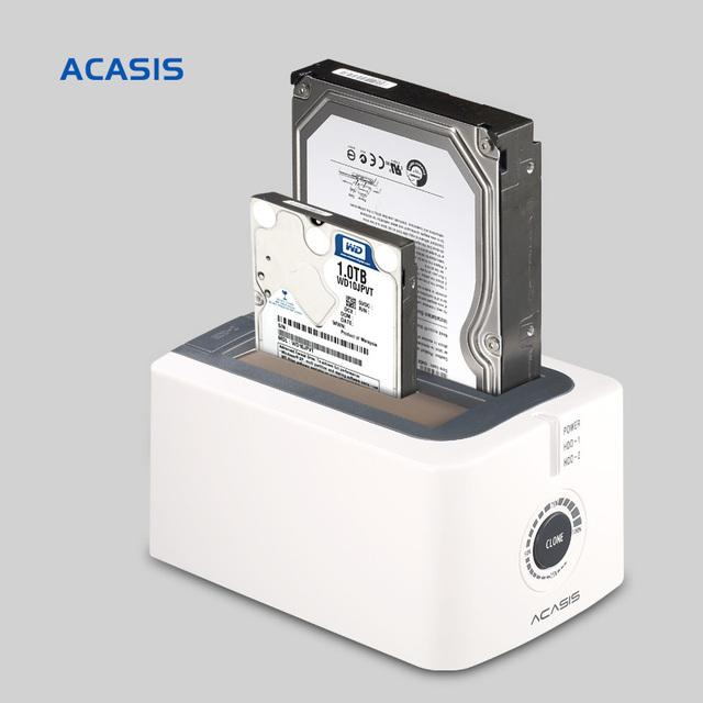 Acasis 10072TW BA-12US 3.5-Inch SATA USB3.0 Docking Station Dupla HDD Disco Rígido Caixa de Disco Rígido Duplicador Clonagem Desligada