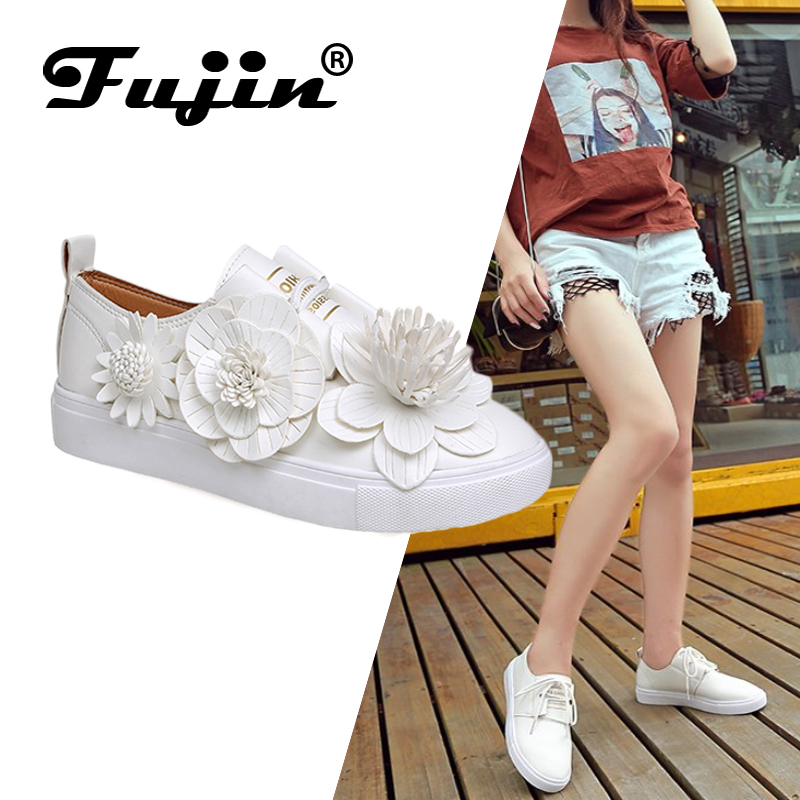 Fujin Shoes Flats Round-Toe Fashion New White Girl Summer Small Flower PU Lace-Up Leisure