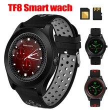 TF8 ساعة ذكية جهاز تعقب للياقة البدنية بلوتوث الرياضة Smartwatch الأزياء جولة اللمس شاشة Smartwatch دعم سيم بطاقة الذاكرة