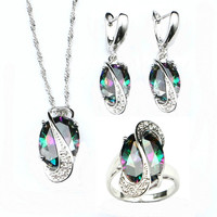 Egg Shaped Mystic Rainbow Fire Created Topaz 925 Sterling Silver Jewelry Sets For Women Wedding Necklace