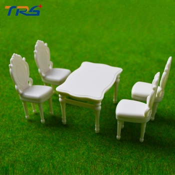 Teraysun 10 Sets European Style Square Dining Table Chair Set Railway Model Train 1:25 G Scale
