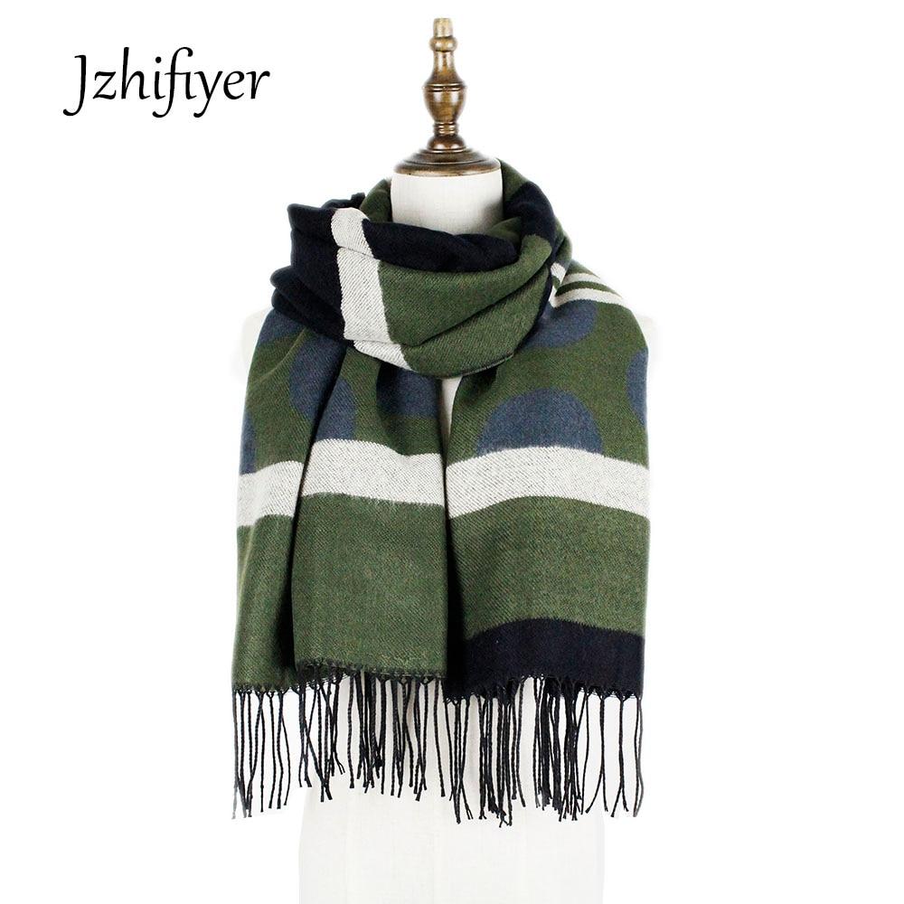 a3817a182aa7a Jzhifiyer YX130 châles et wraps de noël cadeaux d hiver foulards designer  fringe femmes polka dot châle cachemire écharpe