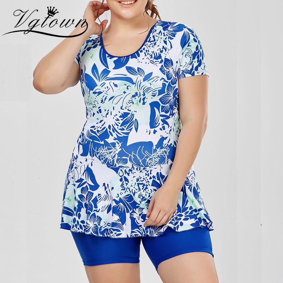 Vgtown Women Plus Size 6xl One-piece Swimsuit Fatter Women Bigger Size Swimming Suit Short Sleeves Hot Spring Swimwear To Invigorate Health Effectively Fitness & Body Building Sports & Entertainment