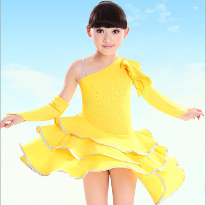 Free Shipping 3-12Y Children Fancy Dress Kids Festvial Stage Performance Dance Wear Big Latin Skirts Girls Clothing For Dancing