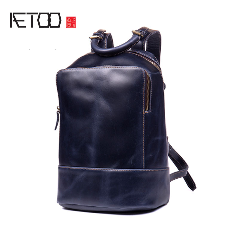 AETOO First layer of leather men and women backpack leather shoulder bag trend computer bag backpack aetoo original women s shoulder bag black print backpack small fresh artistic first layer leather pocket computer bag