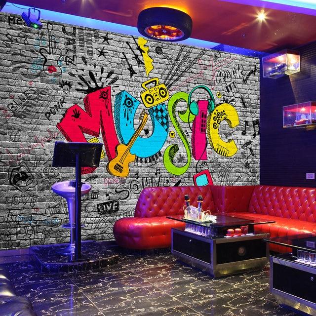Nach Wandbild Wand Papier Kreative Graffiti Art Musik Ziegel Wand Malerei  KTV Bar Wohnzimmer Hause Wand Dekoration Tapete Pflanze