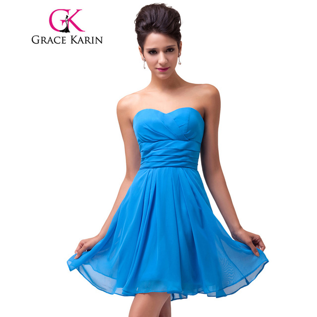 a6643599ed1bd Grace Karin Bridesmaid Dresses Short Chiffon Sweetheart Party Gowns  Strapless Knee Length Blue Wedding Bridesmaid Dress