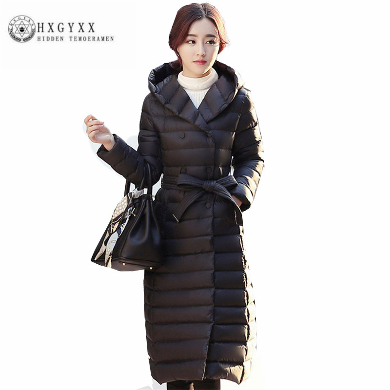 2018 Hot selling Women   Down   jacket New Pure color Thick Winter Long Outerwear Fashion simple Hooded slim Female   Down     Coat   ZX0122