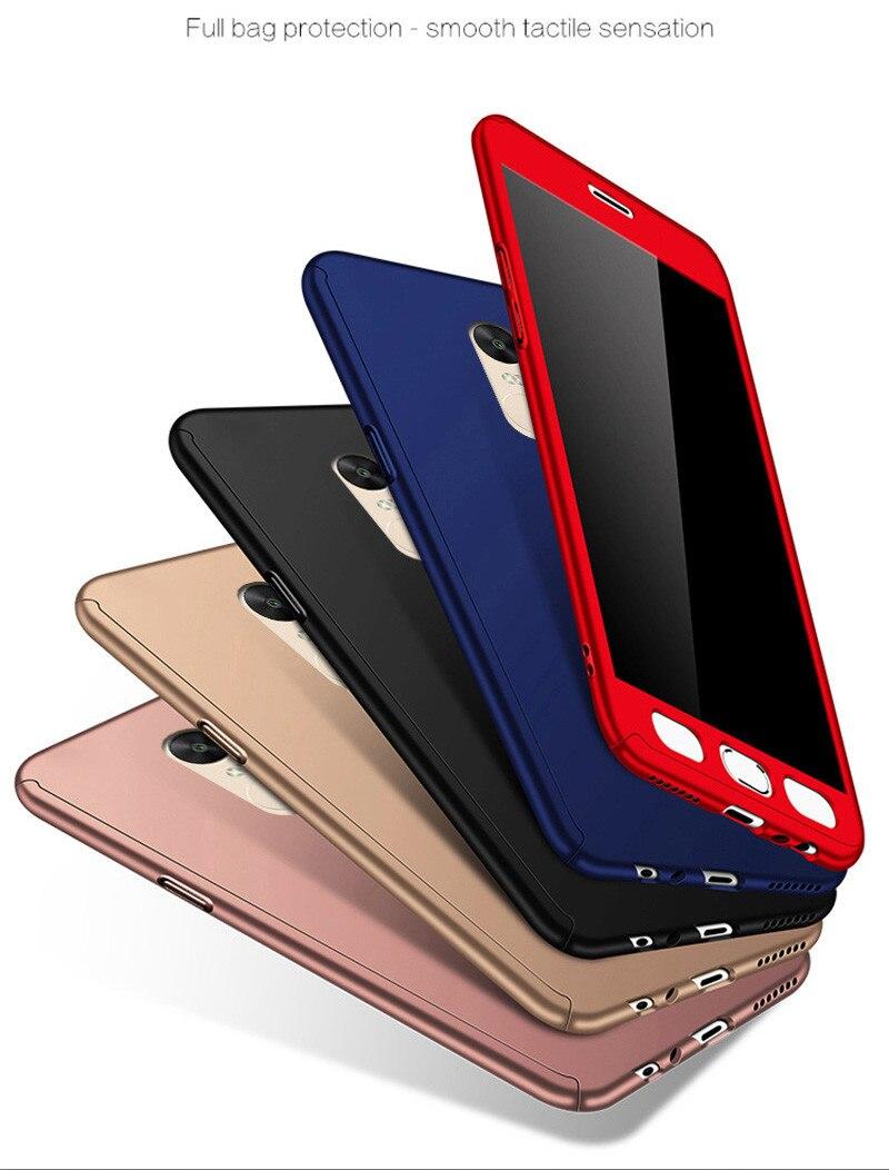360 Full Cover Xiaomi Redmi Note 4X Luxury Hard Plastic Matte Case Xiaomi Redmi Note 5A Prime 5A Funda + Tempered Glass