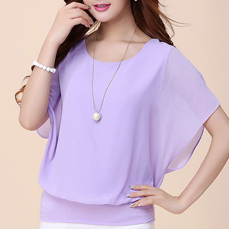 Women Tops and Blouse Butterfly Shorts Sleeve O-Neck Chiffon Blouse Loose Casual Summer Shirts Solid Blusas Clothes Plus Size 5X 4