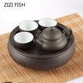 Heißer Verkauf Teekanne Chinesischen Porzellan Yixing Zisha Tee Topf + 3 Tassen Kung Fu Tee + Tee Set Set Teekannen handgemachte Zisha Keramik Wasserkocher-in Teegeschirr-Sets aus Heim und Garten bei