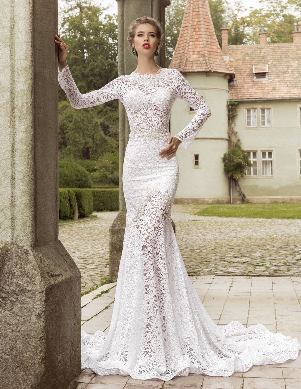 Elegant mermaid lace wedding dresses 2016 crew neck sheer for Long sleeve dresses to wear to a wedding