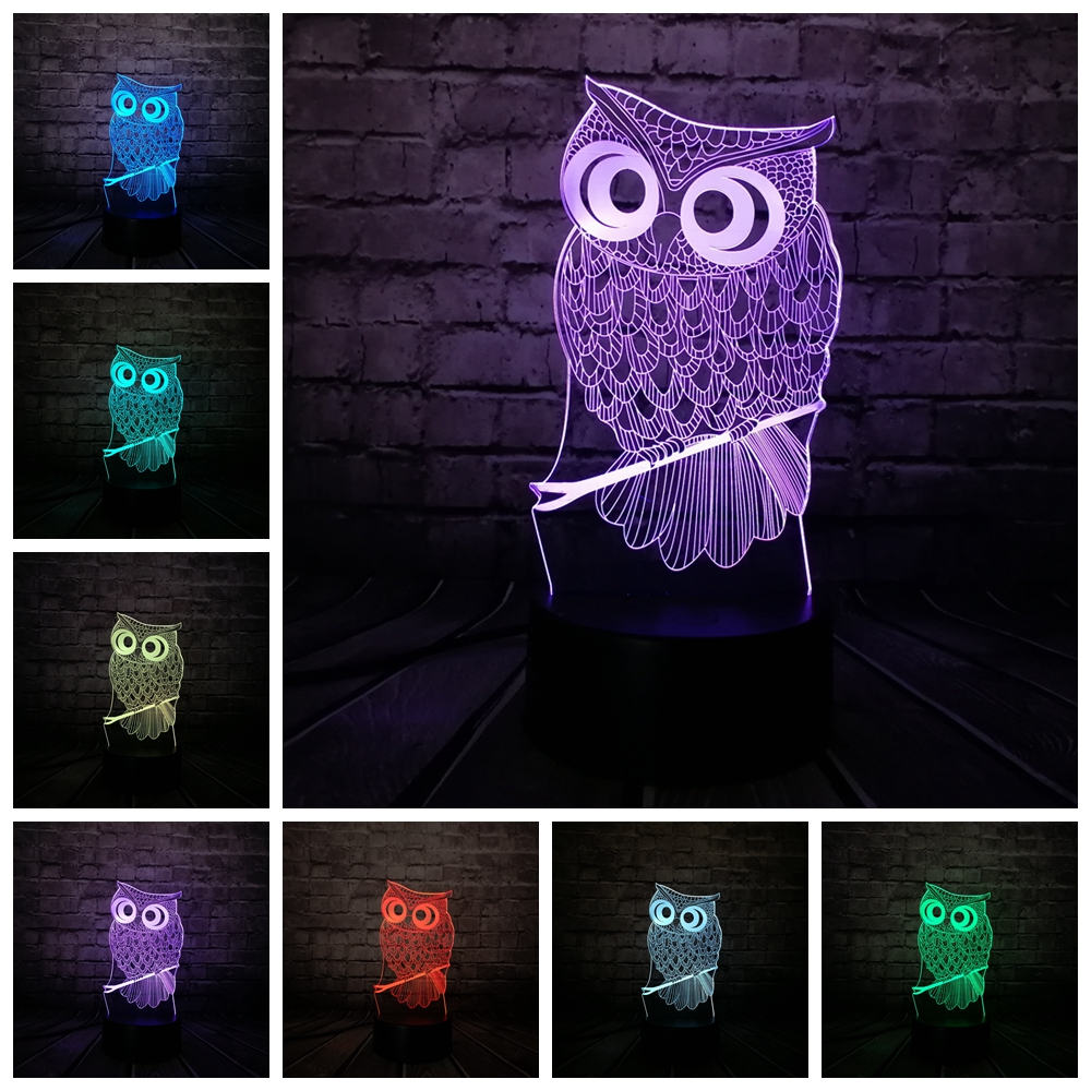 Kawaii Animal Owl 3D Night Light 7 Colors Change LED Desk Table Lamp Art Home Child Bedroom Sleeping Decor Holiday Party Gifts adjustable owl shaped 3d wooden stand lamp night light bedroom table desk lamp warm white lighting plug connector home decor