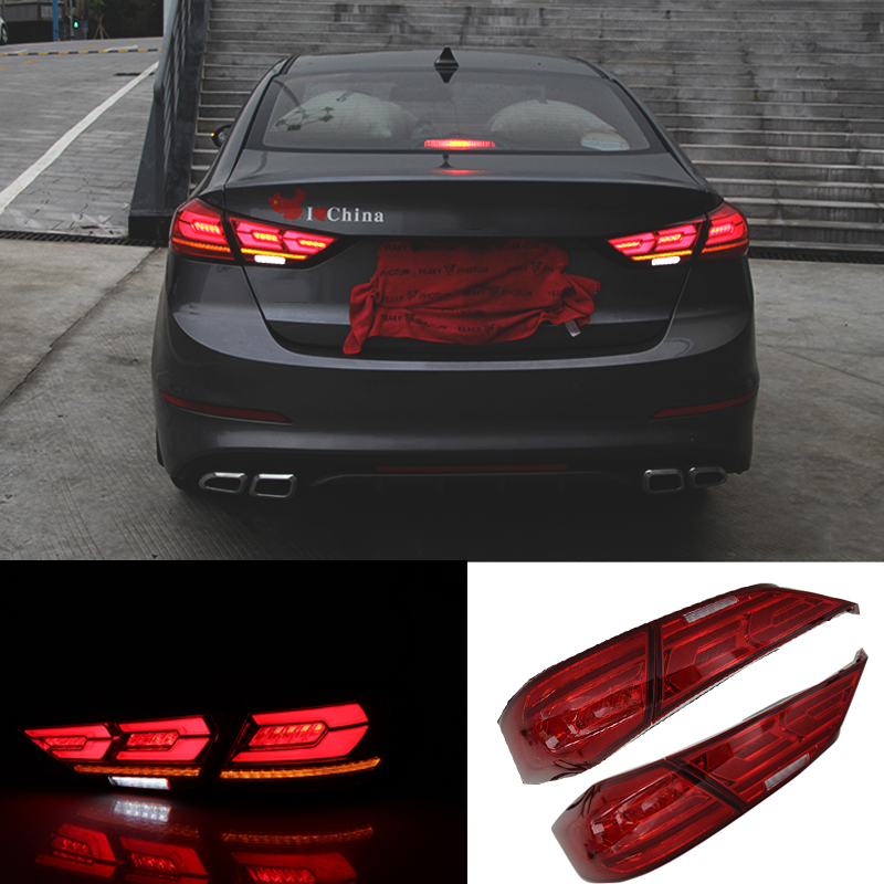 2pc Car Taillights Assembly For Hyundai Elantra 6 AD 2019 2018 2017 12V LED Lights Rear Tail Brake Turning Reversing Light Lamps for great wall pickup truck wingle 6 tail lamp assembly rear lights assembly