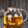 Behogar 1000 ミリリットルガラスティーポット高耐熱水ミルクコーヒーボトルポット竹蓋加熱することができる花茶ポット