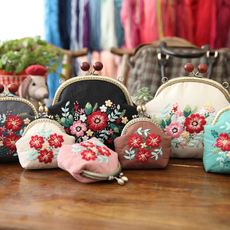 Ribbon Embroidery DIY Flowers Bags Purse Wallet Handbag Needlework Cross Stitch Kit For Beginner Sewing Craft Friend Gifts