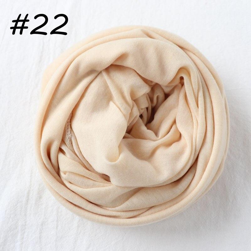 Один кусок Хиджаб Женский вискозный Джерси-шарф Мусульманский Исламский сплошной простой Джерси хиджабы Макси шарфы мягкие шали 70x160 см - Цвет: 22 cream