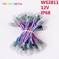 50X12mm cabo de Fio Levou Módulo WS2811 IC 2811 RWB entrada DC12V Digital LED Full Color Pixel String IP68 à prova d' água luz