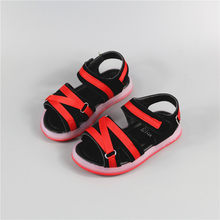 Children LED shoes sandals boys glowing shoes PU leather girls sandals casual kids beach sandals with Light soft sole baby shoes(China)