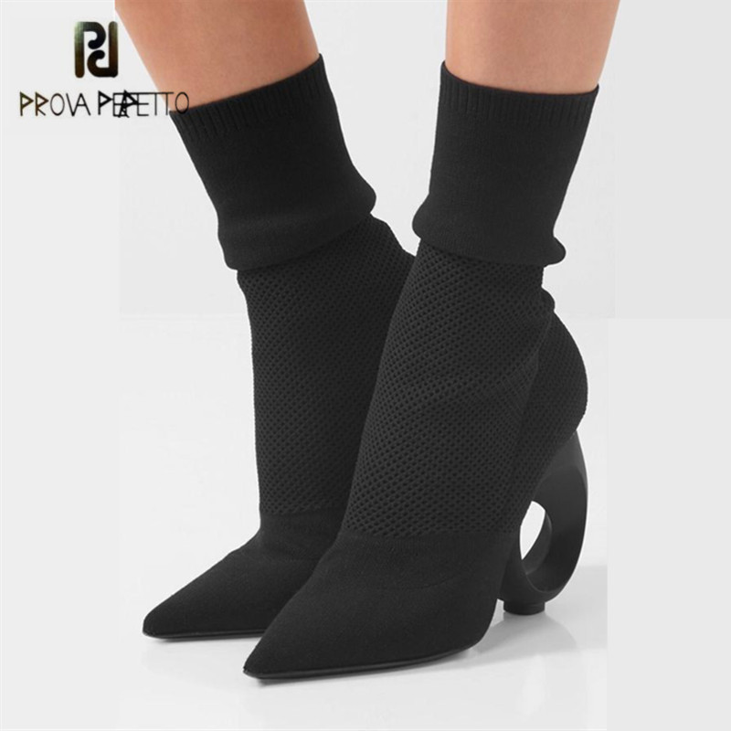 Prova Perfetto Designer Strange Heel Women Ankle Boots Sexy High Heels Pointed Toe Stretch Knit Sock