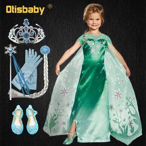 Платье Эльзы для девочек ясельного возраста, вечерние платья Эльзы, карнавальный костюм Эльзы на Хэллоуин, зеленое платье Снежной королевы ...