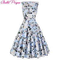 2016 Summer Women Dress Audrey Hepburn Vestidos Sleeveless Polka Dot Floral Print Clothing Cotton 50s Casual