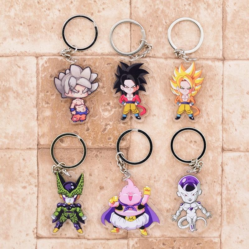 2019 Dragon Ball GT Keychain Goku Cell Frieza Double Sided Acrylic Key Chain Pendant Anime Accessories Cartoon Key Ring