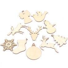 10 ADET Noel çorap & Geyik & melek Ahşap Kolye Süsler Noel Partisi Süslemeleri Noel Ağacı Süsler Çocuklar Hediyeler