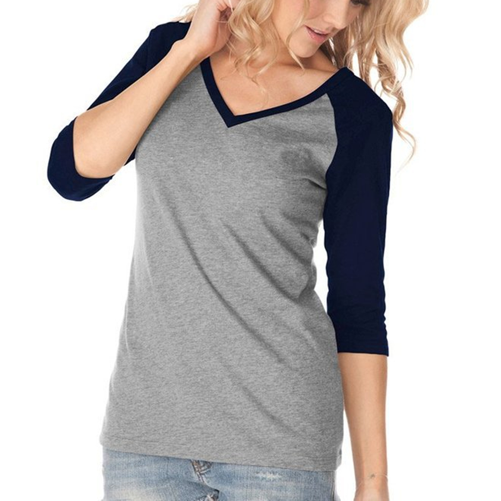 8 color casual style t shirts raglan shirts vintage tee for Plus size 3 4 sleeve tee shirts