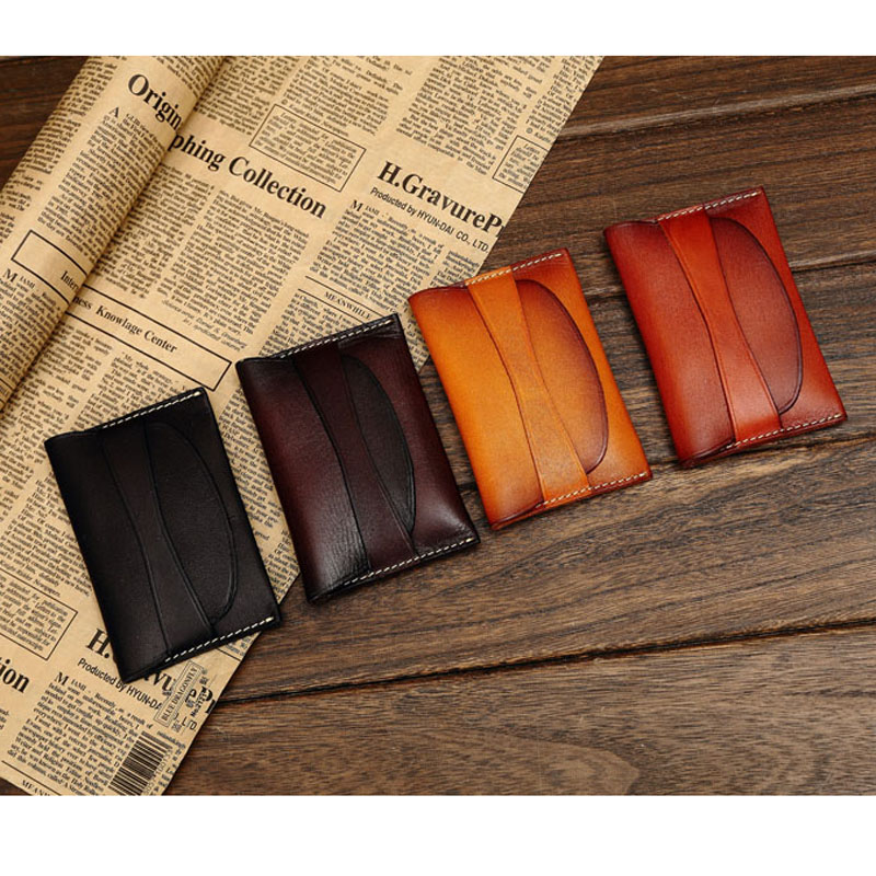 Classic Style Vegetable Tanned Leather Business Card Wallet Cowhide ...